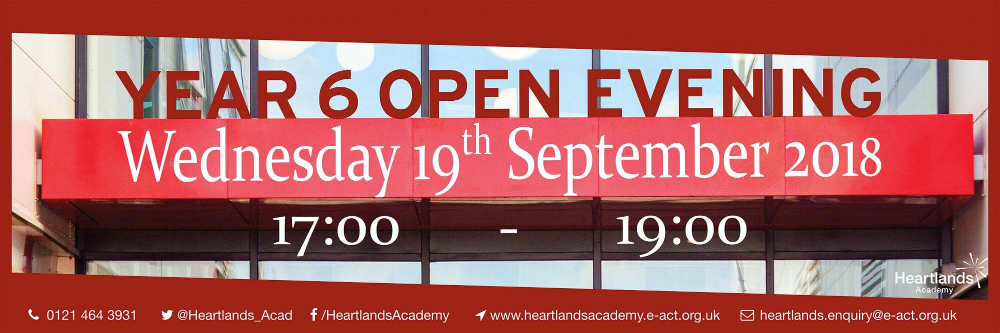 Year 6 Open Evening, Wednesday 19 September, 17:00 - 19:00