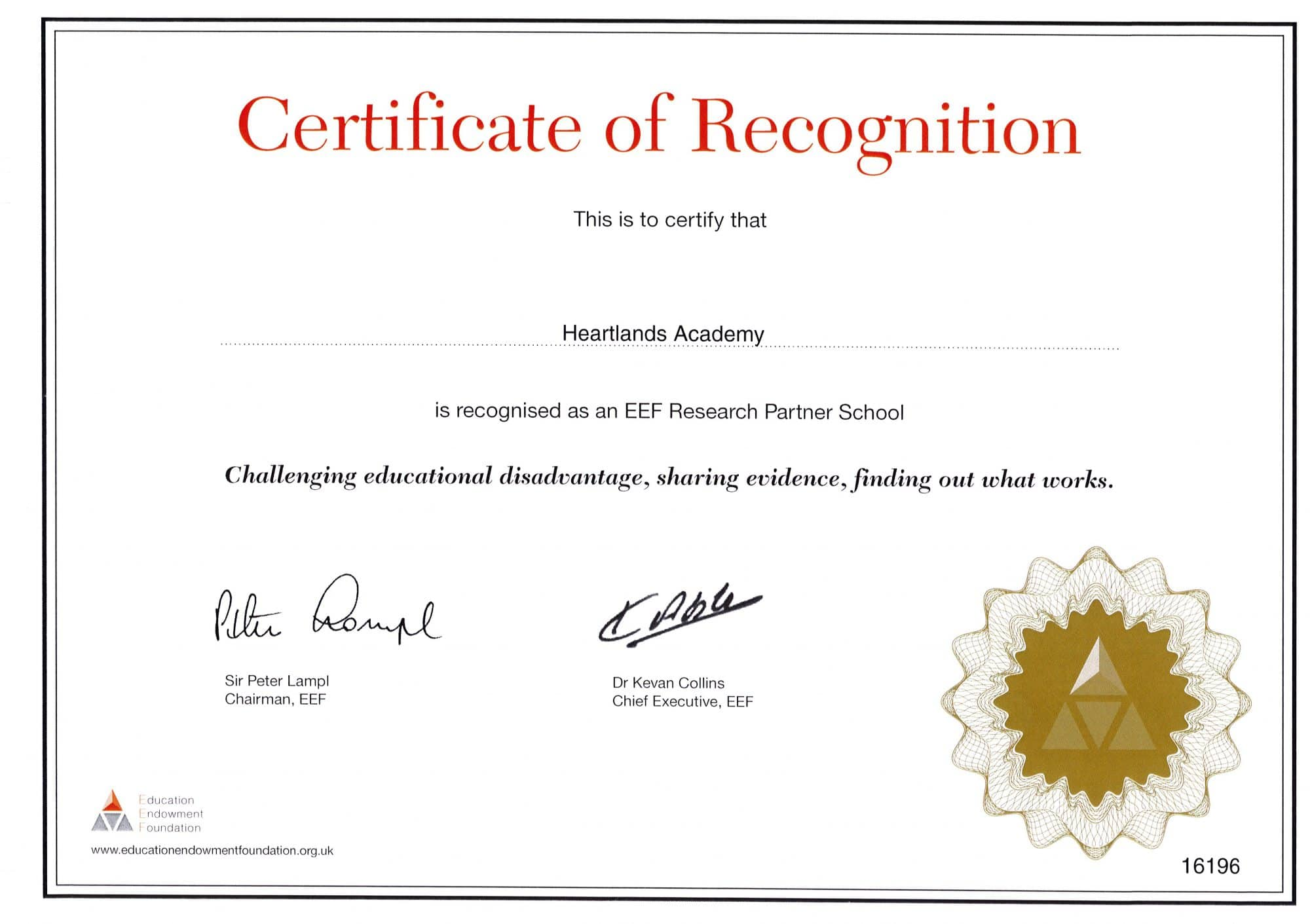 EEF Research Partner School certificate