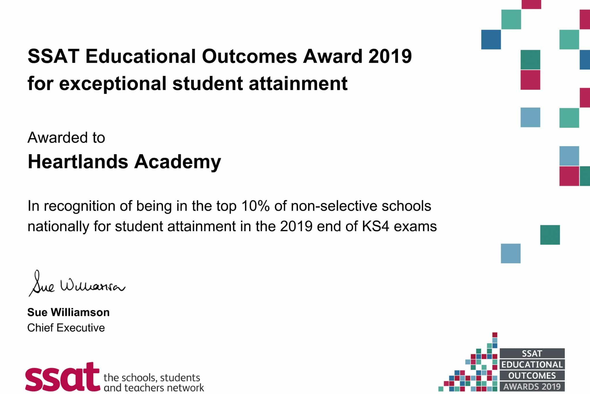 Exceptional student attainment certificate
